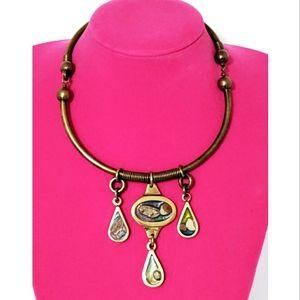 Vintage brass and enamel pendant choker